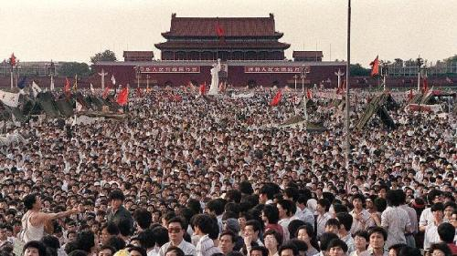 A crowd gathers to protest in Tiananmen Square, June 4, 1989
